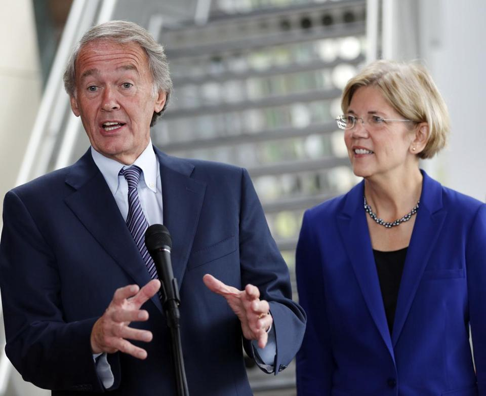 Representative Edward Markey and then-Democratic Senate candidate Elizabeth Warren in October, 2012.