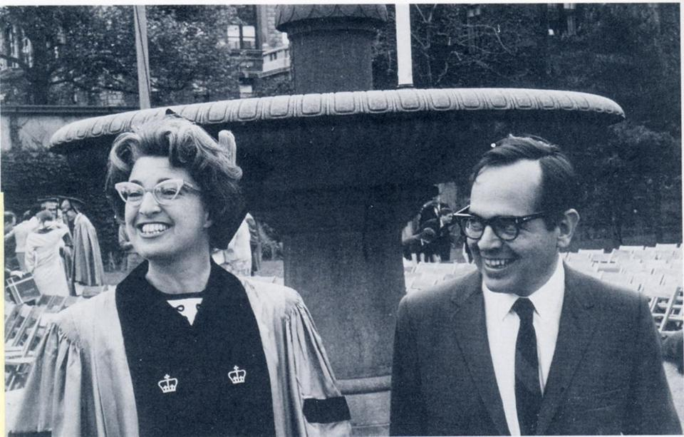 Gerda Lerner at her graduation in 1966 from Columbia University with her husband, Carl, a film editor.