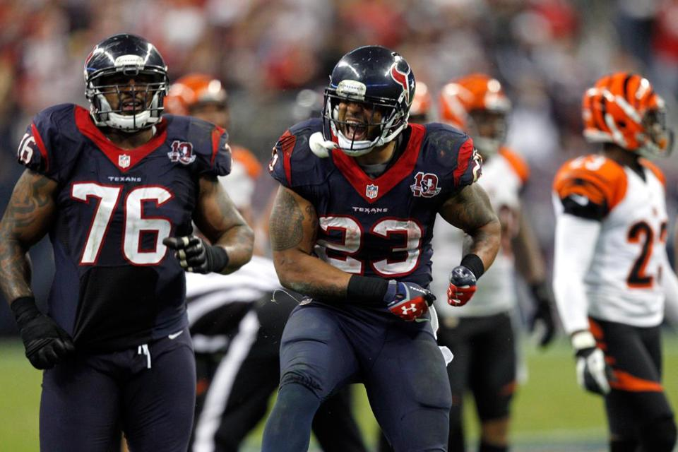 Arian Foster (23) became the first NFL player to rush for at least 100 yards in each of his first three playoff games.