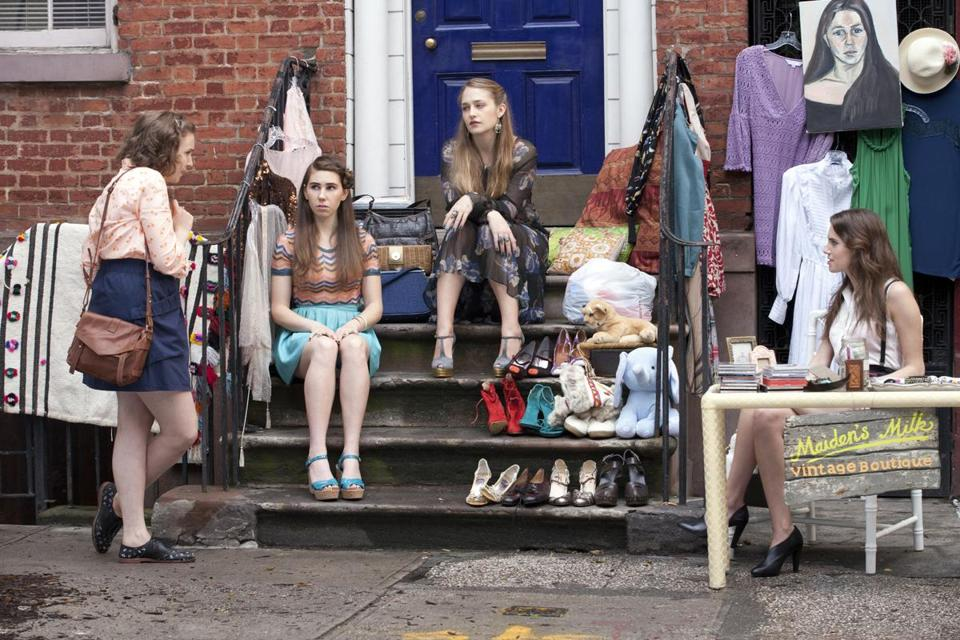 "From left: Hannah (Lena Dunham), Shoshanna (Zosia Mamet), Jessa (Jemima Kirke), and Marnie (Allison Williams) in HBO's quirky 20-something drama ""Girls."""