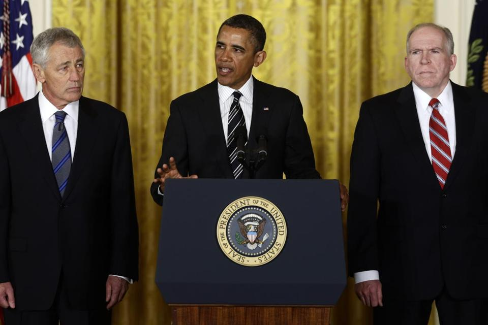 President Obama, Chuck Hagel, and John Brennan