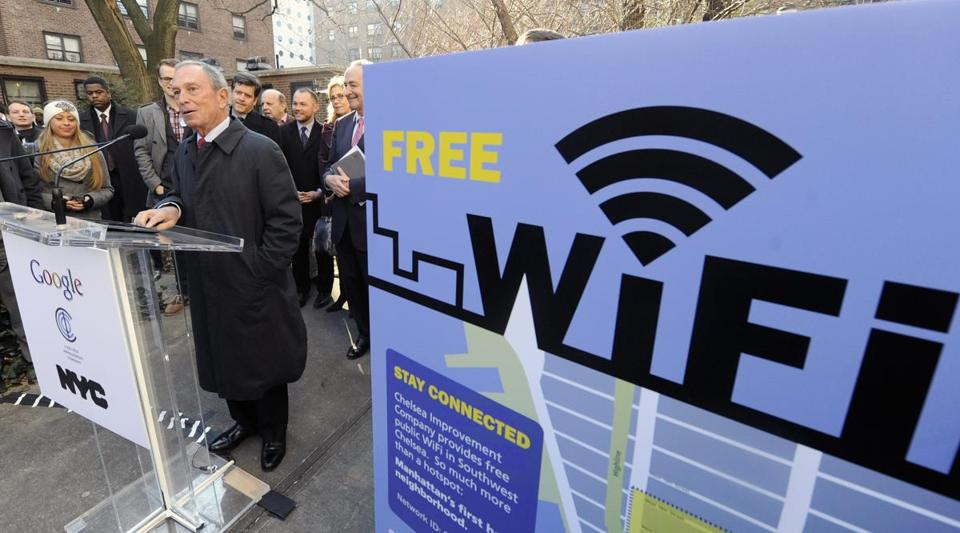 New York City Mayor Michael Bloomberg spoke at a news conference announcing free Wi-Fi.