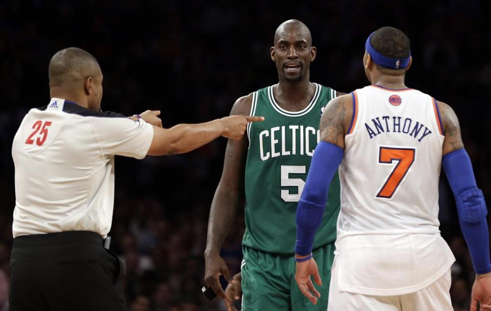 Referee Tony Brothers issued technical fouls to Kevin Garnett and Carmelo Anthony after they tangled in the fourth quarter of Monday's game in New York.