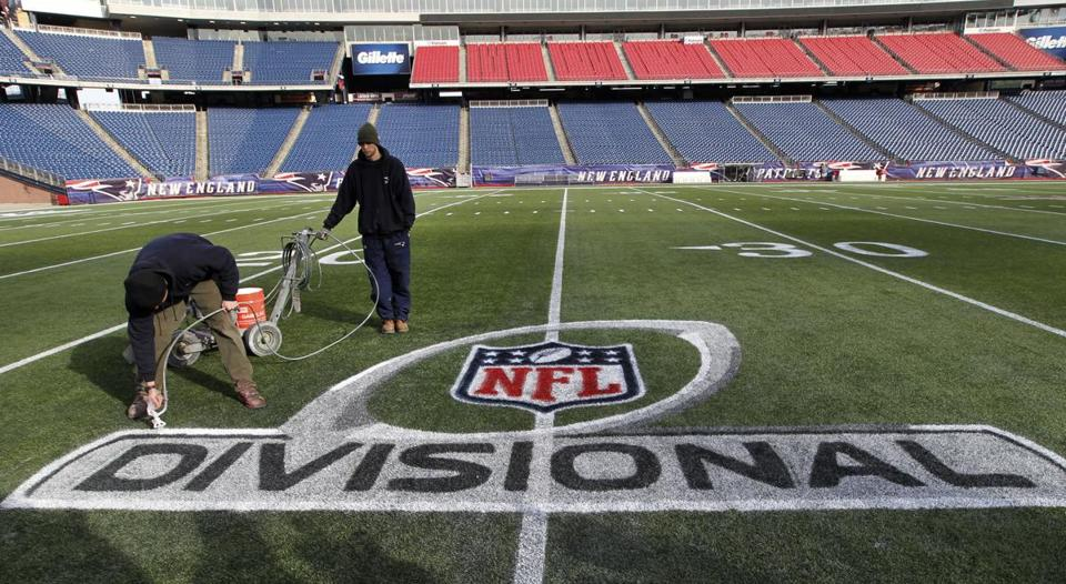 The Gillette Stadium field was prepared with a playoff logo on Tuesday for Sunday's game against the Texans.