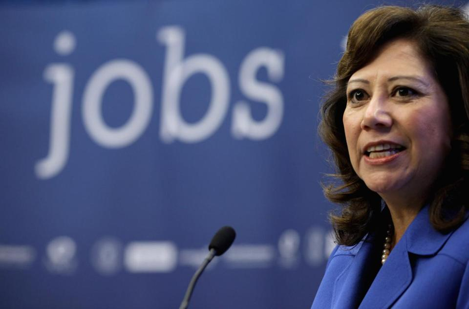 US Secretary of Labor Hilda Solis, here at a news conference in October, said that she plans to resign.