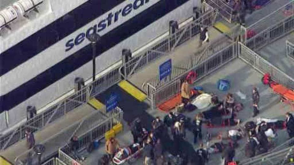 Emergency workersl at the scene of a ferry crash in Lower Manhattan.