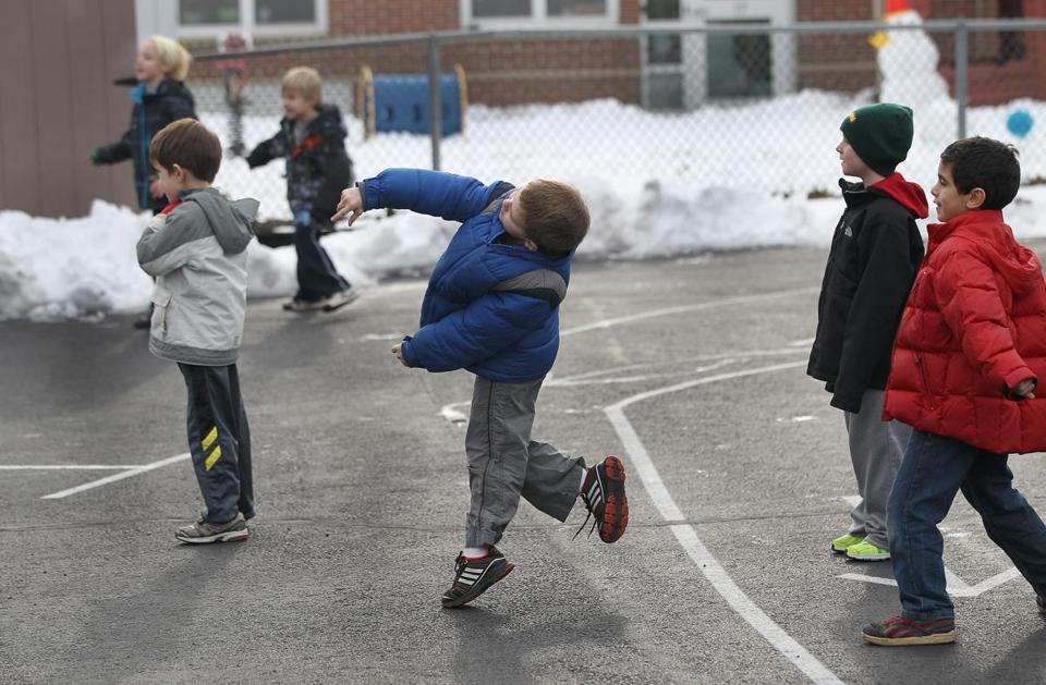 First-graders at Anna Ware Jackson school in Plainville take around 30 minutes of recess time daily.