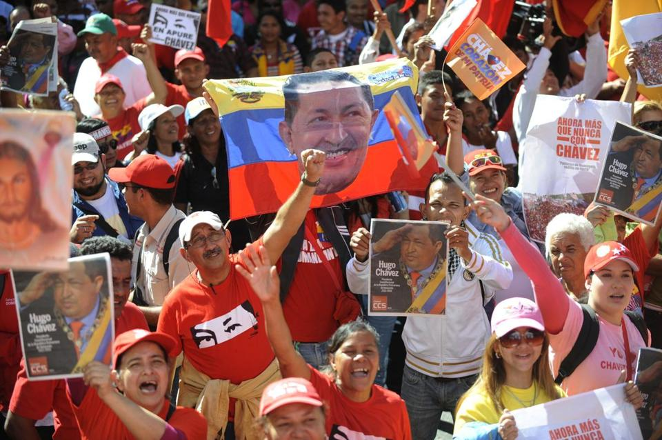 Supporters of Venezuelan President Hugo Chavez cheered at his inauguration on Thursday despite his absence from the event. Chavez has been out of the public eye for more than a month since a fourth cancer surgery. It was the first time in Venezuela's history that a president has missed his inauguration.