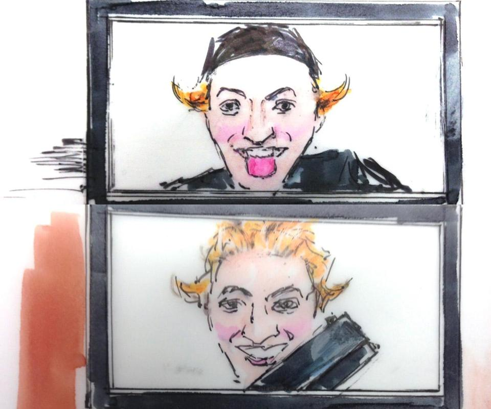 Seen in courtroom sketches, suspect James Holmes held weapons in photos he took before the July 20 attack in an Aurora, Colo., theater.