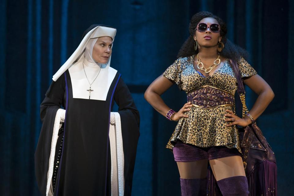 "Hollis Resnik stars as Mother Superior and Ta'Rea Campbell stars as Deloris, a budding disco star, in the stage musical ""Sister Act."""