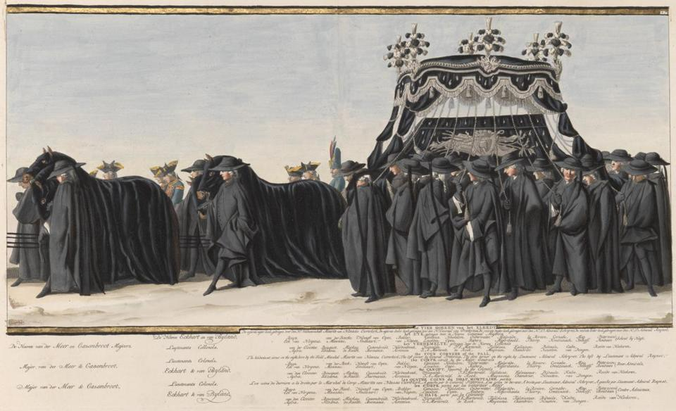 "At the RISD Museum, Jan Punt's ""The Four Corners of the Pall"" depicts a royal funeral procession in hand-colored watercolor and gold."