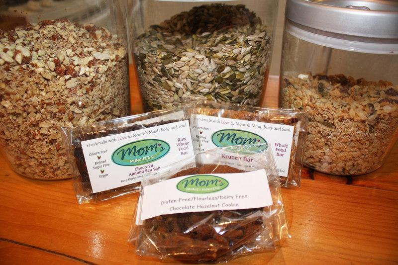 The Mom's Organic Munchies line includes Choco-Fit Almond Sea Salt Bars, Krunch Bars and Chocolate Hazelnut Cookies, which are all made from ground up nuts and seeds.