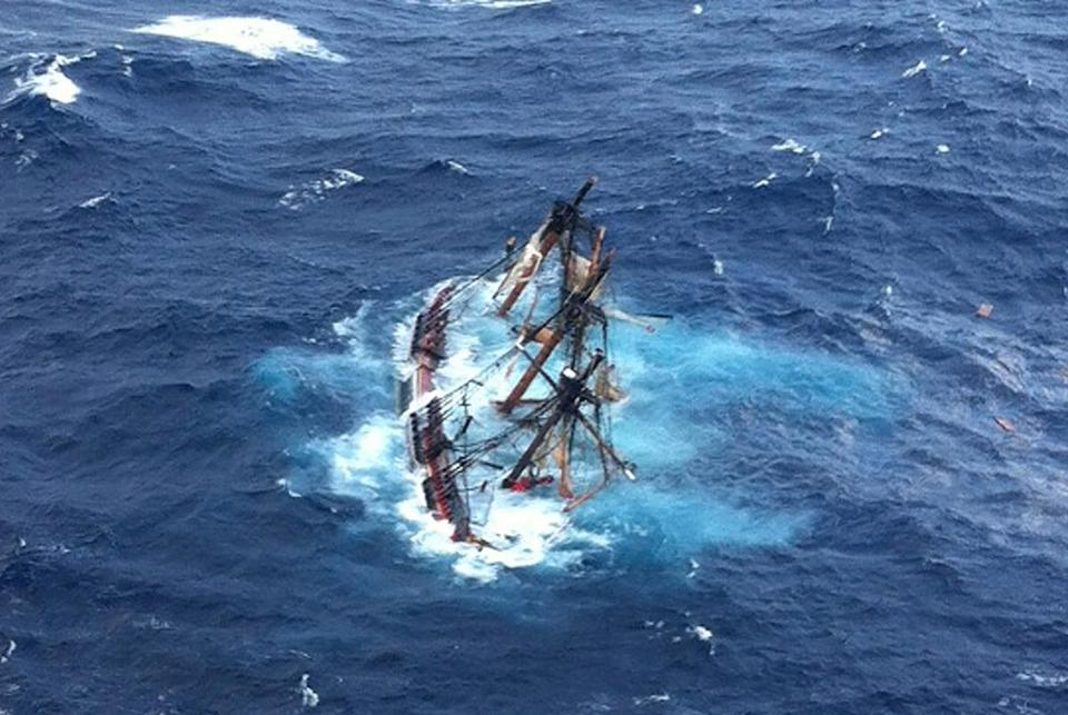 The HMS Bounty was submerged Oct. 29 in the Atlantic Ocean during Hurricane Sandy off Hatteras, N.C.