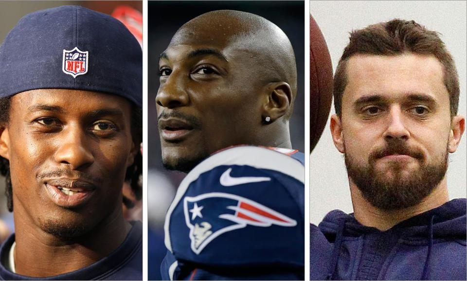 Patriots (from left) Brandon Lloyd, Aqib Talib, and Trevor Scott in years past already have been on vacation.