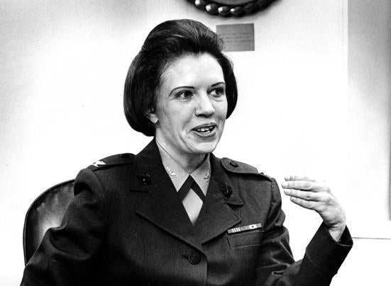 Margaret Brewer commanded female units early in her career and became a training and public affairs specialist.