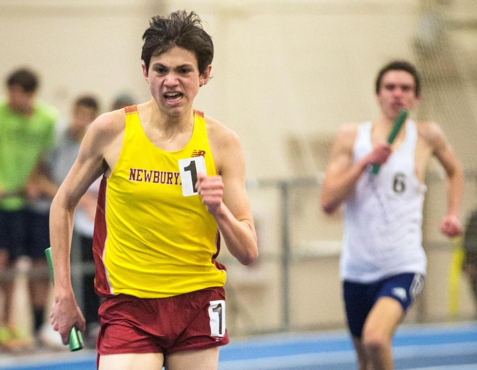 Nick Carleo's finishing kick helped give the Newburyport distance medley team a meet record time of 10 minutes and 52.78 seconds.