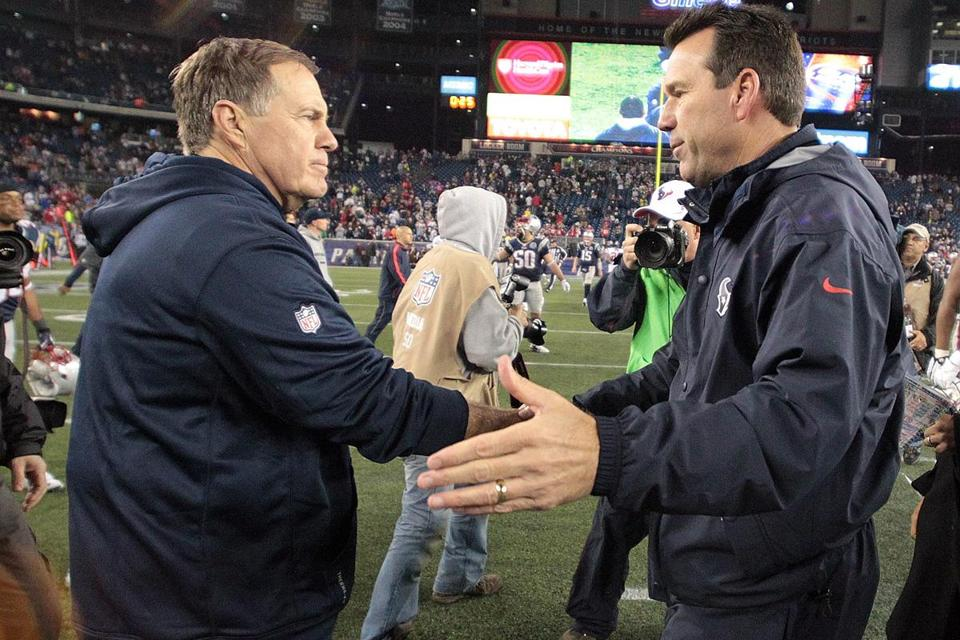 Bill Belichick has 17 career playoff victories, while the Texans' Gary Kubiak has just two.
