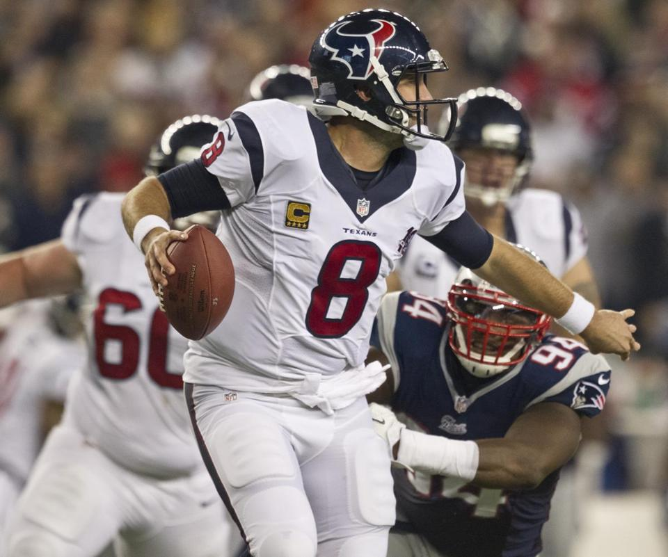 Houston quarterback Matt Schaub, who threw for 343 yards against the Patriots, defended the decision that led to his one interception.