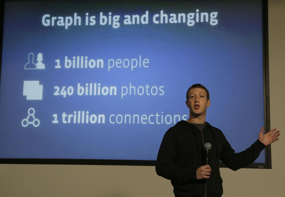 Facebook CEO Mark Zuckerberg spoke about Facebook's 'graph search' at a the company's headquarters in Menlo Park, Calif.