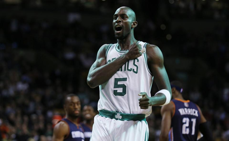 The Celtics defense (including a couple of snazzy blocks Monday) gives Kevin Garnett something to shout about.