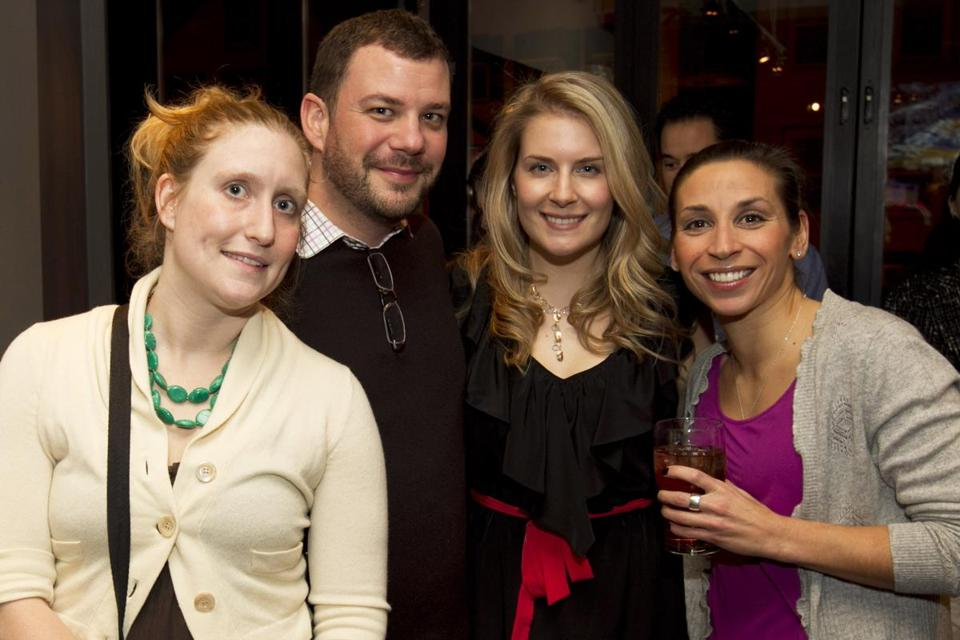 From left: Phoebe K. Flemming, Scott Luther, Elise Ryan, and Jennifer Melkonian at the first Social Southie meeting at Boston Beer Garden.