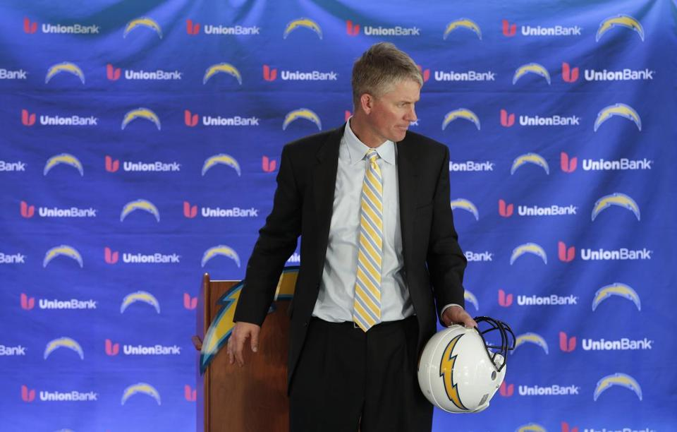 Mike McCoy held a helmet during a news conference after being named the new head coach of the San Diego Chargers.
