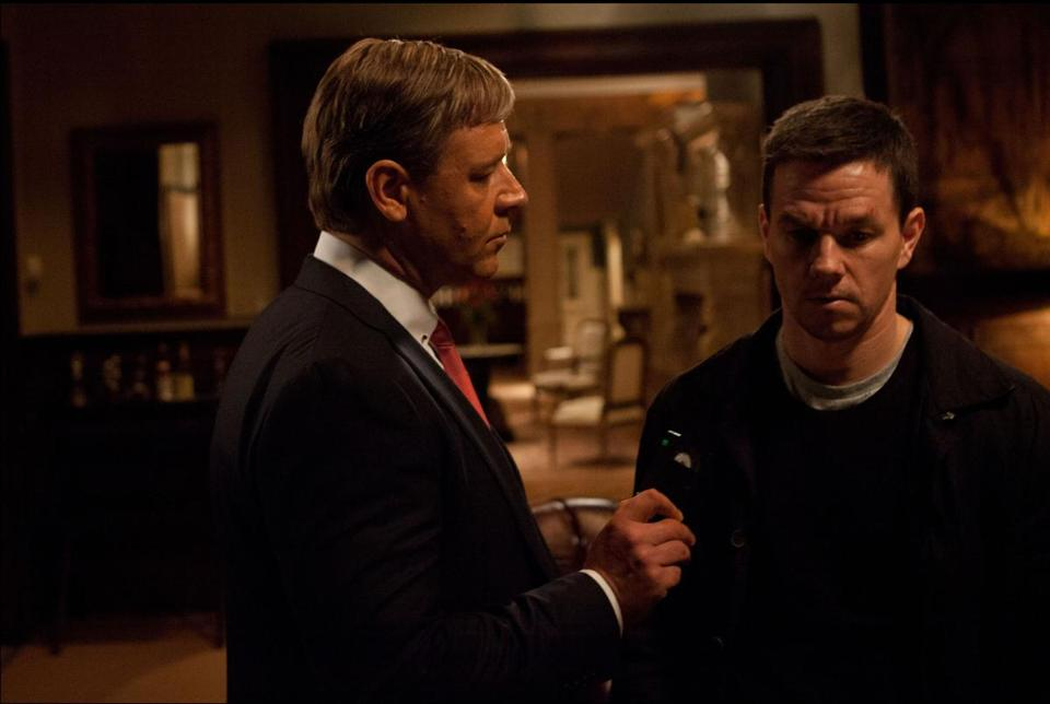 "Russell Crowe with Mark Wahlberg in ""Broken City,"" directed by Allen Hughes."