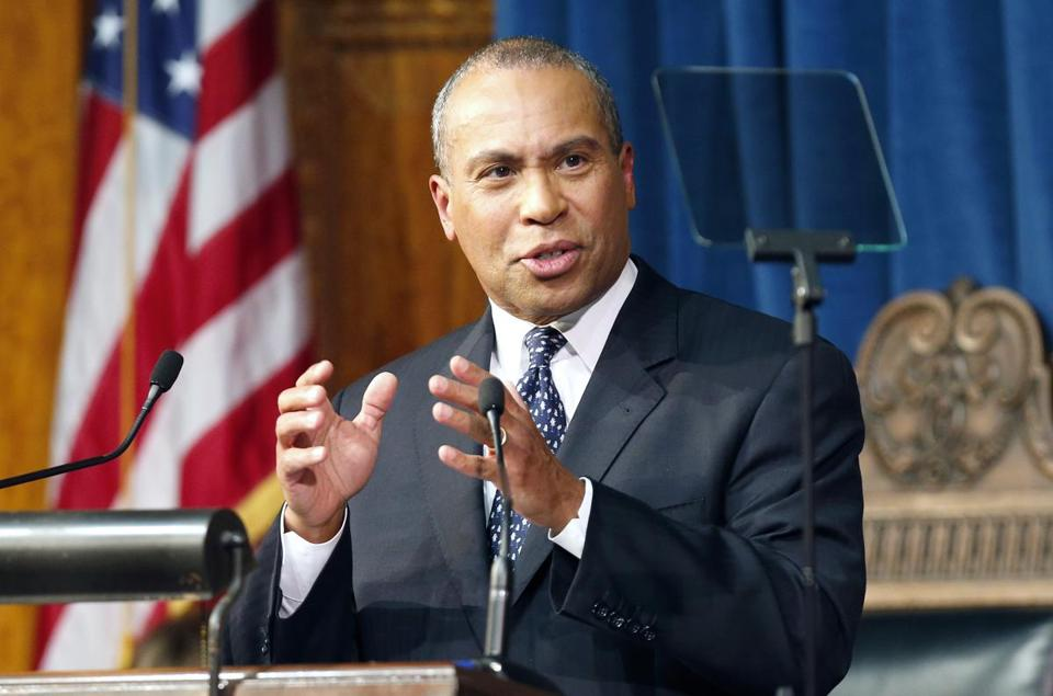 Governor Deval Patrick delivers his State of the State address in the House Chambers at the Statehouse in Boston, Wednesday, Jan. 16, 2013.