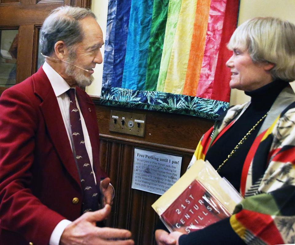 Jared Diamond, left, with Pat Suhrcke, director of the Cambridge Forum.