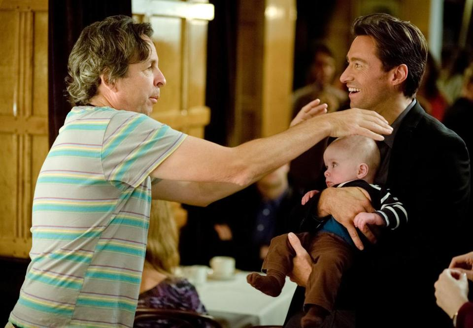 "Peter Farrelly (left) on the set of ""Movie 43"" with Hugh Jackman, one of the film's many stars."