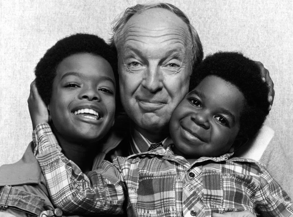 "Conrad Bain, with his co-stars on ""Diff'rent Strokes,'' Todd Bridges (left) and Gary Coleman."