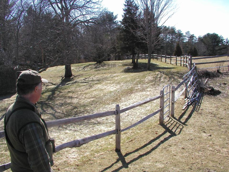 Jim MacDougall at a Topsfield farm subject to a conservation deal.