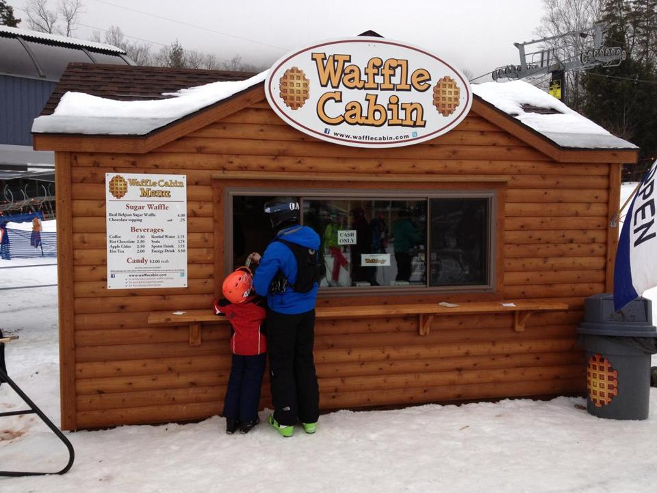 After hours on the slopes at Okemo Mountain in Ludlow, Vt., no one counts calories at the waffle stand.