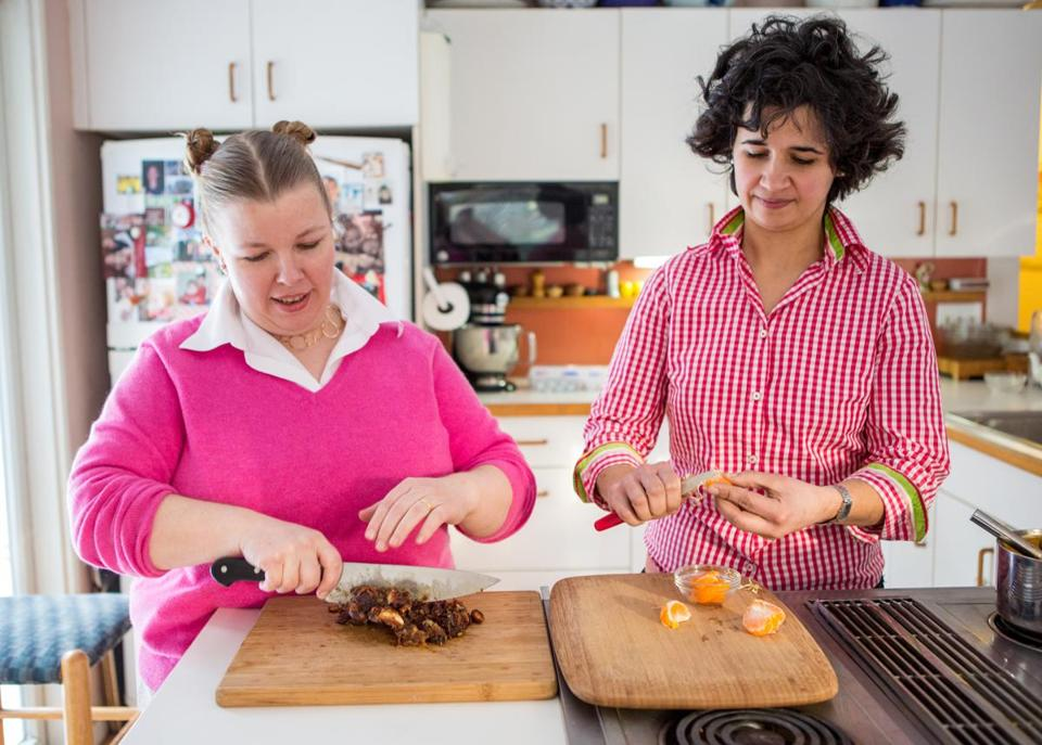 Molly Hanson (left), pastry chef at Grill 23, and Kate Henry, in their Concord home.