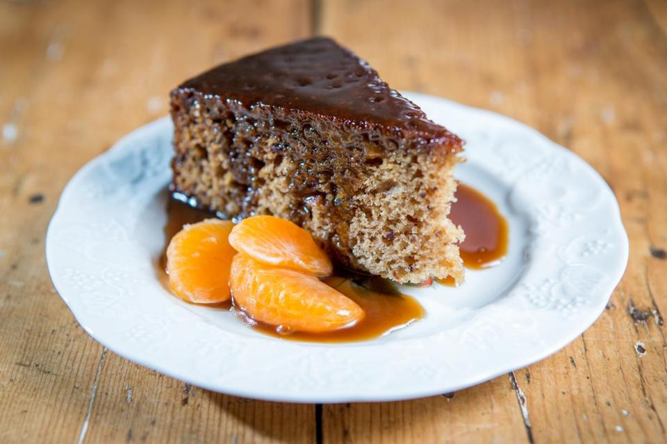 Molly Hanson and Kate Henry prepared a sticky toffee pudding with satsuma mandarin oranges at their home in Concord.