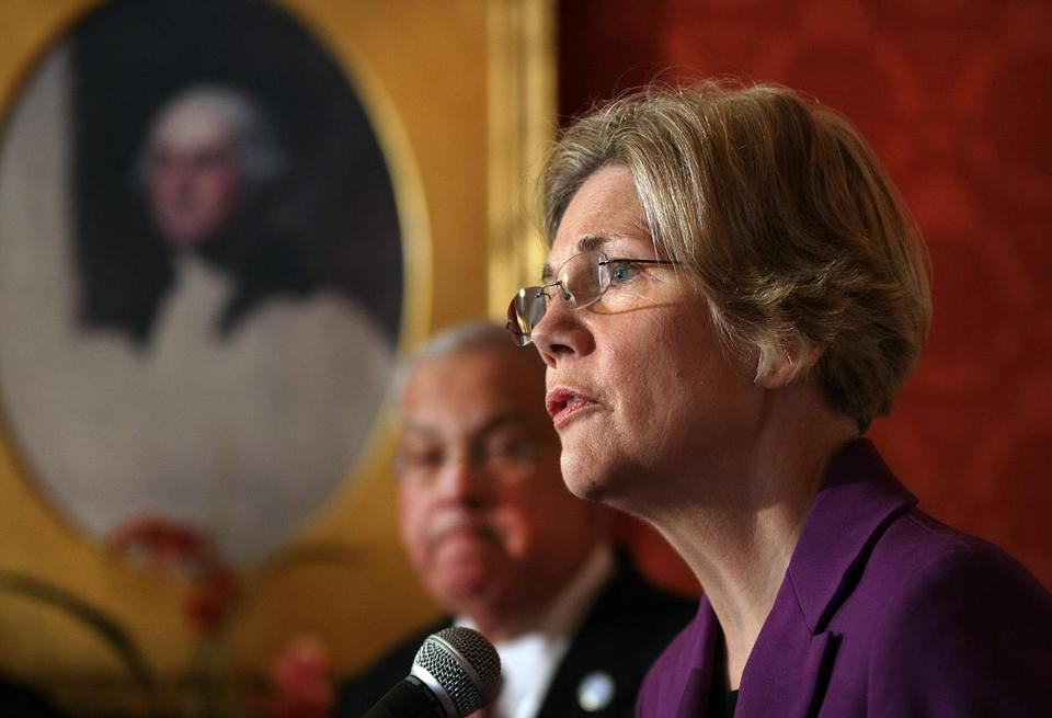 Boston Mayor Thomas M. Menino and Senator Elizabeth Warren, Democrat of Massachusetts, discussed gun violence prevention at the Parkman House on Friday.