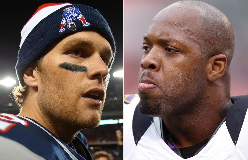 Tom Brady and the Patriots will meet Terrell Suggs and the Ravens for the seventh time in six seasons on Sunday.