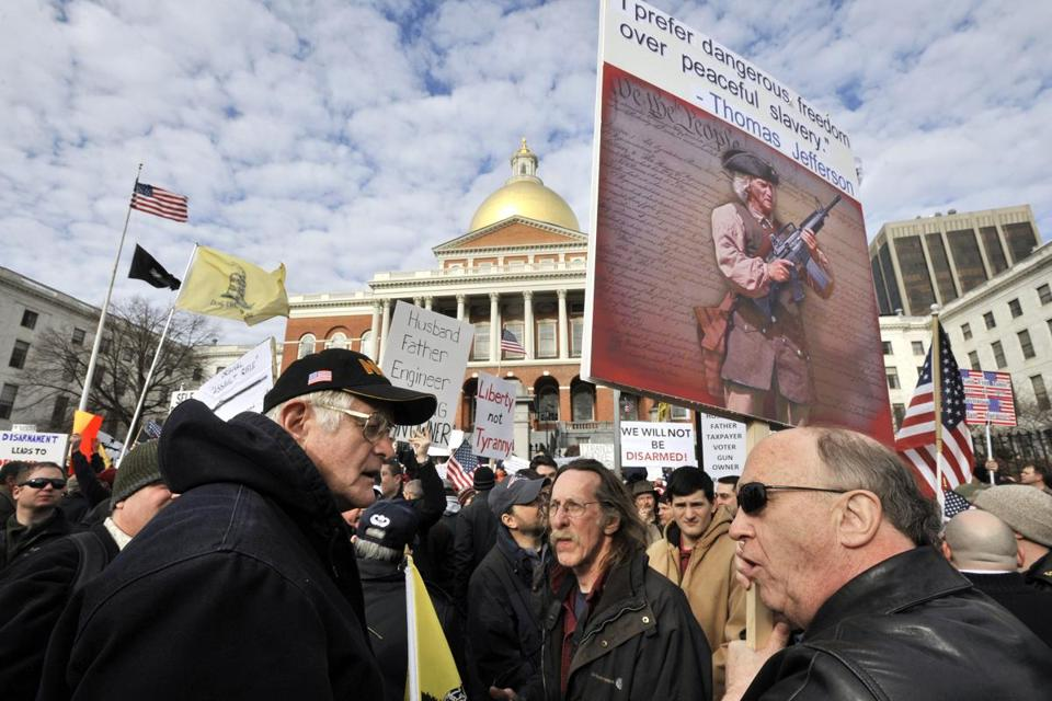 Hundreds gathered for a rally against gun control on the steps of the Statehouse in Boston on Saturday as part of a series of Guns Across America rallies held in 49 states.