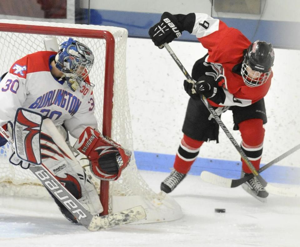 Winchester's Nolan Redler circled near the goal against Burlington Saturday, but goalie Derek DeCastro would post a 3-0 shutout. The loss, Winchester's first of the season, would be followed by a victory two nights later.