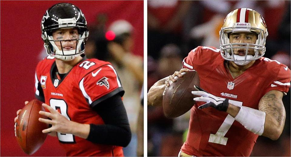 After going one-and-done in his first three trips to the playoffs, Matt Ryan, left, is finally a postseason winner. Colin Kaepernick, began the season as a backup, but might be the most dynamic player on that field.