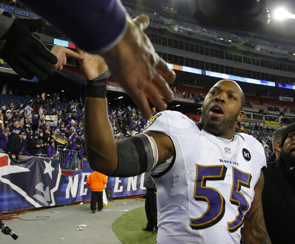 Ravens linebacker Terrell Suggs kept his trash talking up after the game.