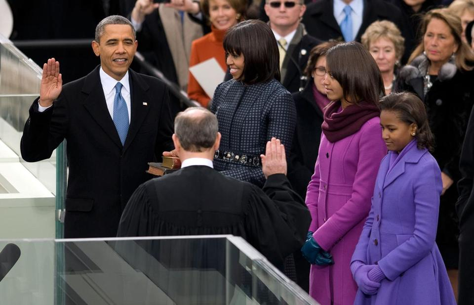 President Obama took the oath of office from Chief Justice John Roberts. Michelle, Malia, and Sacha Obama flanked the president.