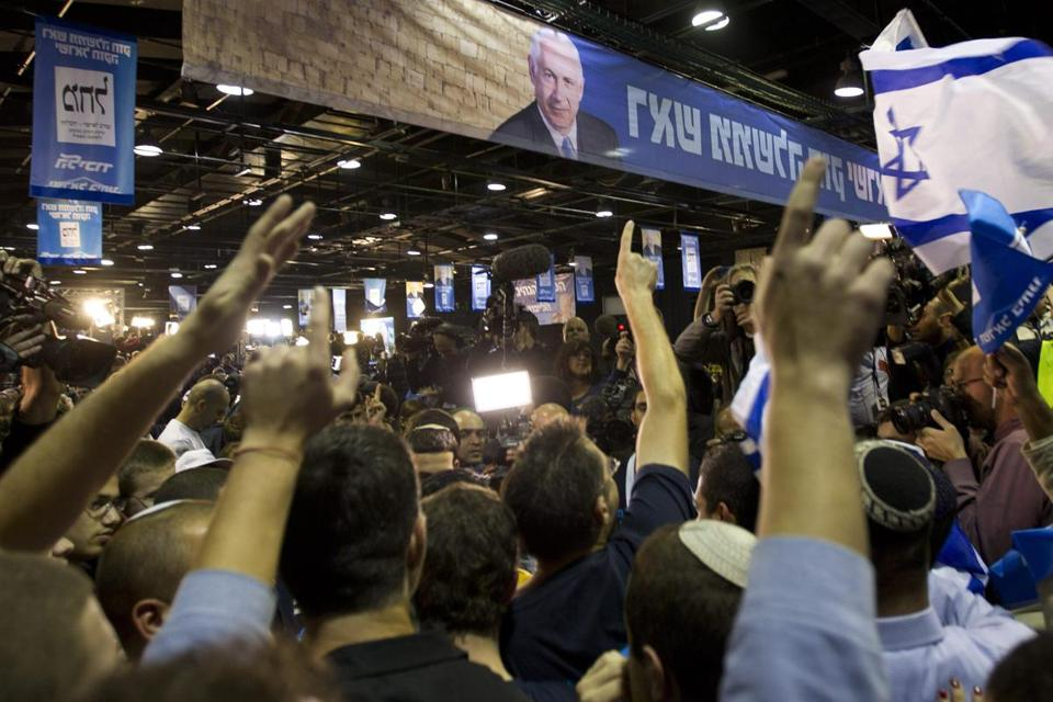 Likud supporters cheered as television predictions of results in the Israeli general elections gave Prime Minister Benjamin Netanyahu a lead in the polls.