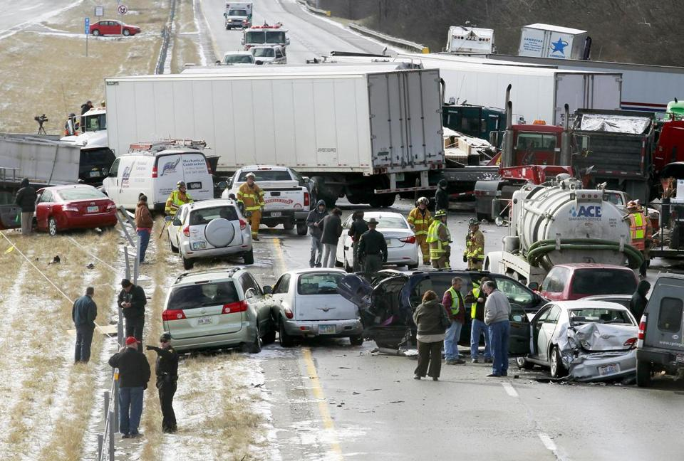 Trucks and cars littered the westbound lanes of Interstate 275 after a chain-reaction crash in Ohio on Monday.