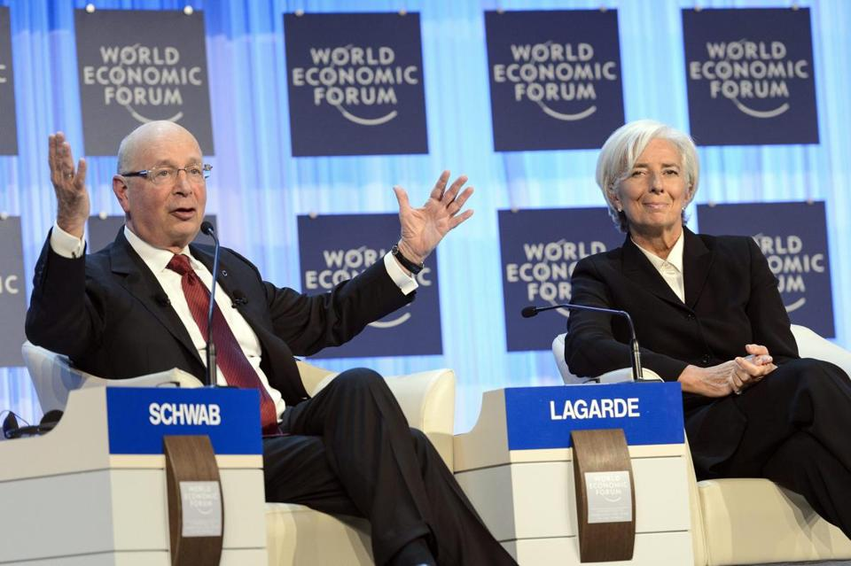 Klaus Schwab, chairman of the World Economic Forum, with Christine Lagarde, director of the International Monetary Fund.
