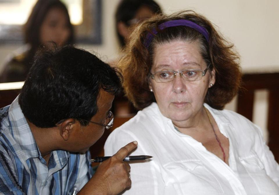 Lindsay Sandiford, shown inside a Bali courtroom during her trial early this month, said she was threatened and forced to smuggle the 8.4 pounds of cocaine by a gang.