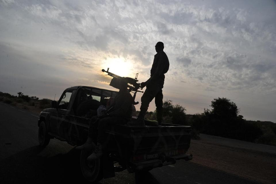 A Malian army pickup truck patrolled near Markala, about 170 miles northeast of Mali's capital. French and Malian forces pushed deeper into the Islamist-held north on Tuesday.