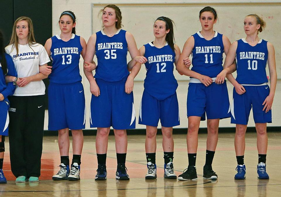 Injured captain Taylor Russell (left) joins with Braintree starters, Brianna Herlihy (13), Molly Reagan (35), Rachel Norton (12), Bridget Herlihy (11), and Ashley Russell (10).