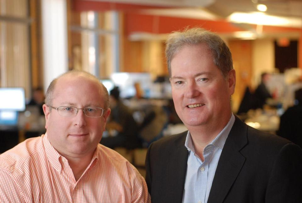 CEO David Patrick (right), shown with founder Chuck Goldman, says 100-plus companies use Apperian's technology.