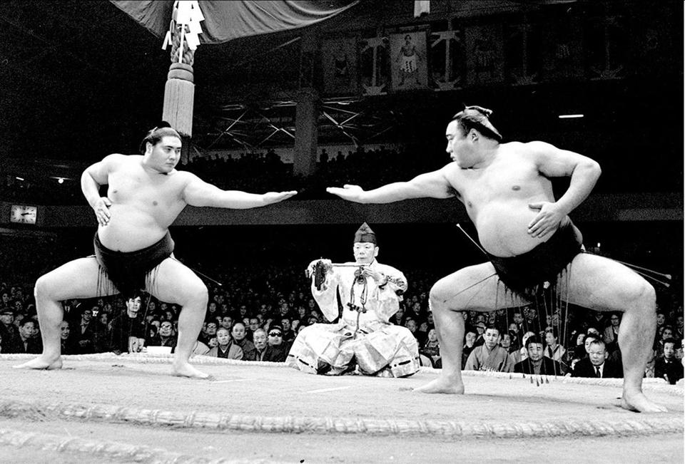 Taiho (left) during a performance in 1967 in Tokyo. His 32 championships are the most in the ancient sport's history.